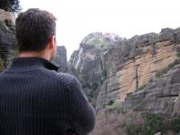 Dan takes a moment to contemplate at Meteora