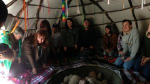 Learning about traditional practices in the sweat lodge