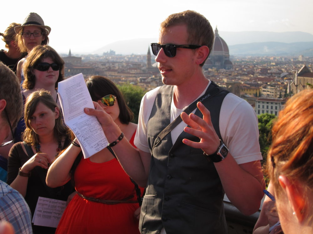 Travelling the world - students hear a lecture in Florence, Italy